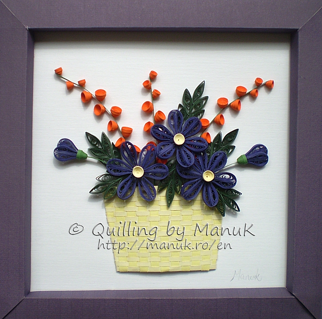 A basket of quilled flowers mightylinksfo