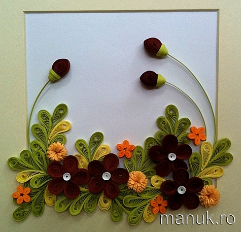 Quilled flower arrangements with tutorial quilling by manuk for Simple paper quilling designs