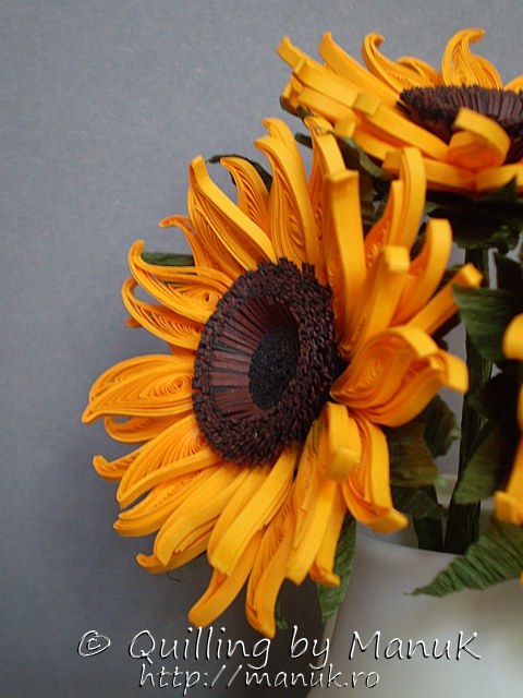 quilled sunflowers in a vase