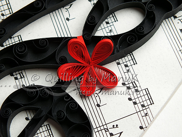 Quilled G Clef Cat - Detail