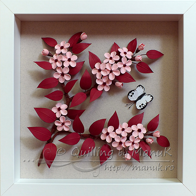 Quilled Cherry Plum Blossom in a Shadowbox Frame