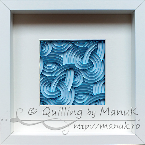 Quilled Blue Swirls in a Shadowbox Frame