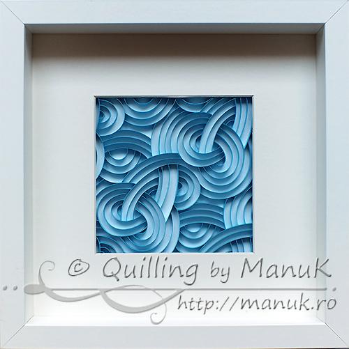 Quilled Blue Swirls in a Shadowbox Frame