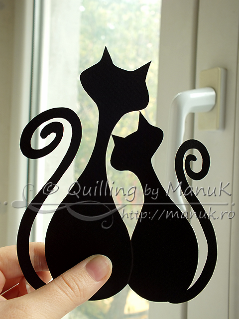Quilled Cats Contour - Paper Graphic