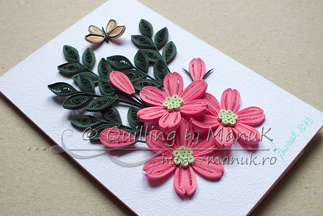 Simple Quilled Flower Arrangement in Pink
