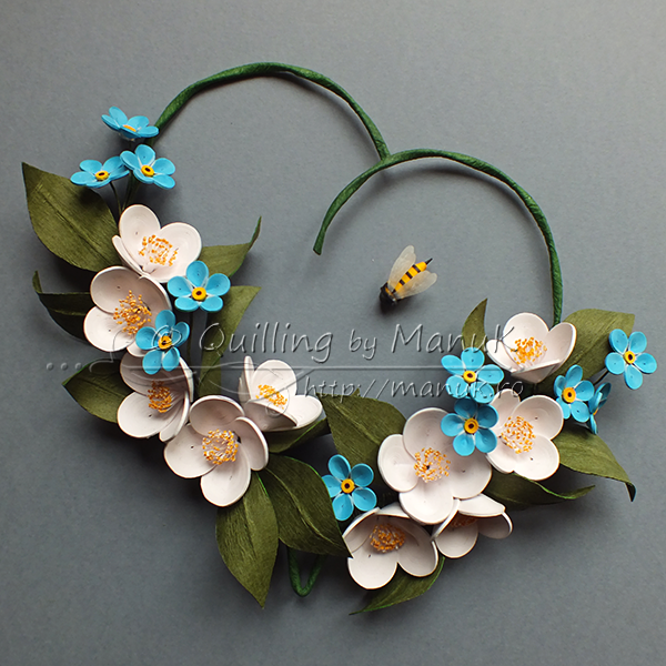 Quilled Jasmines and Forget-Me-Nots in a Heart