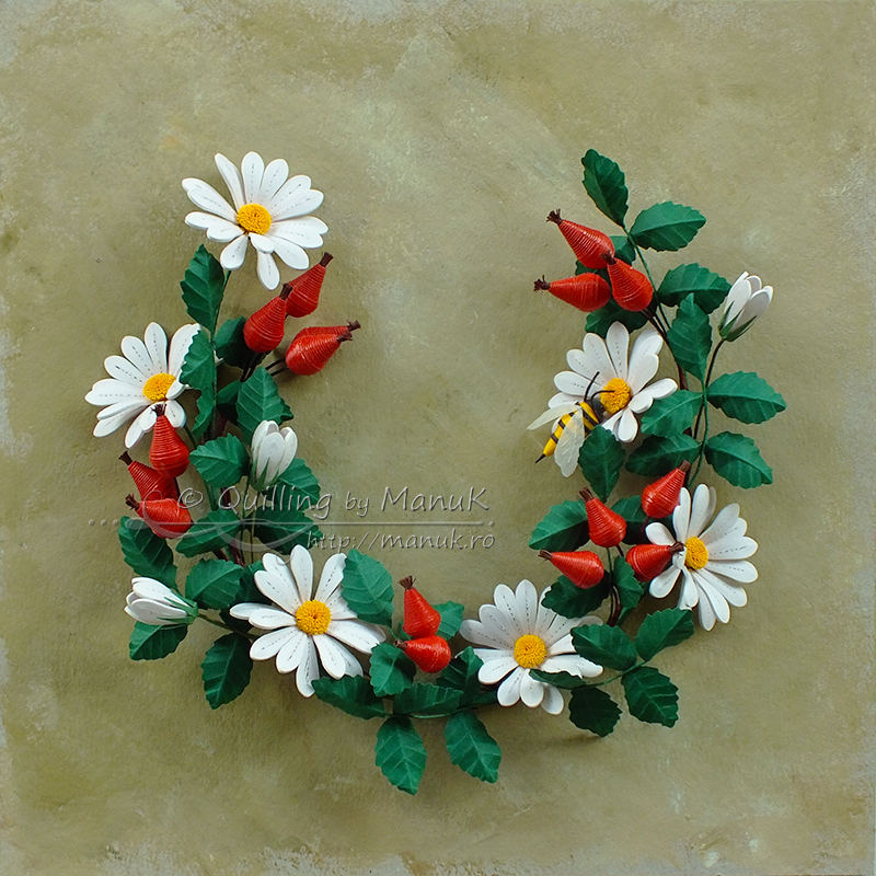 Quilled Daisies and Rose Hip