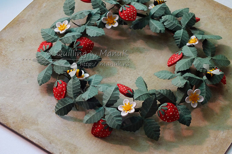 Quilled Strawberries and Bees - Detail
