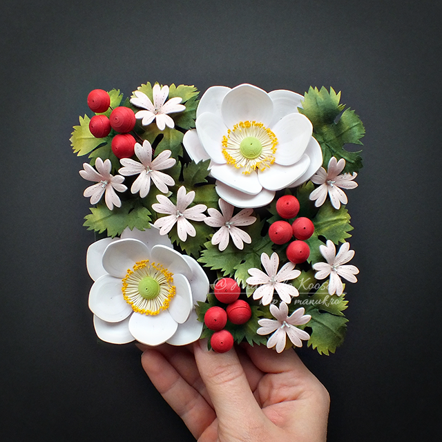 Floral Tile II - Quilled Anemones and Geranium