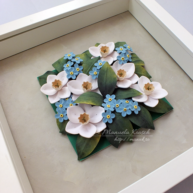 Quilled Daffodils and Forget-me-not Flowers - Floral Tile V